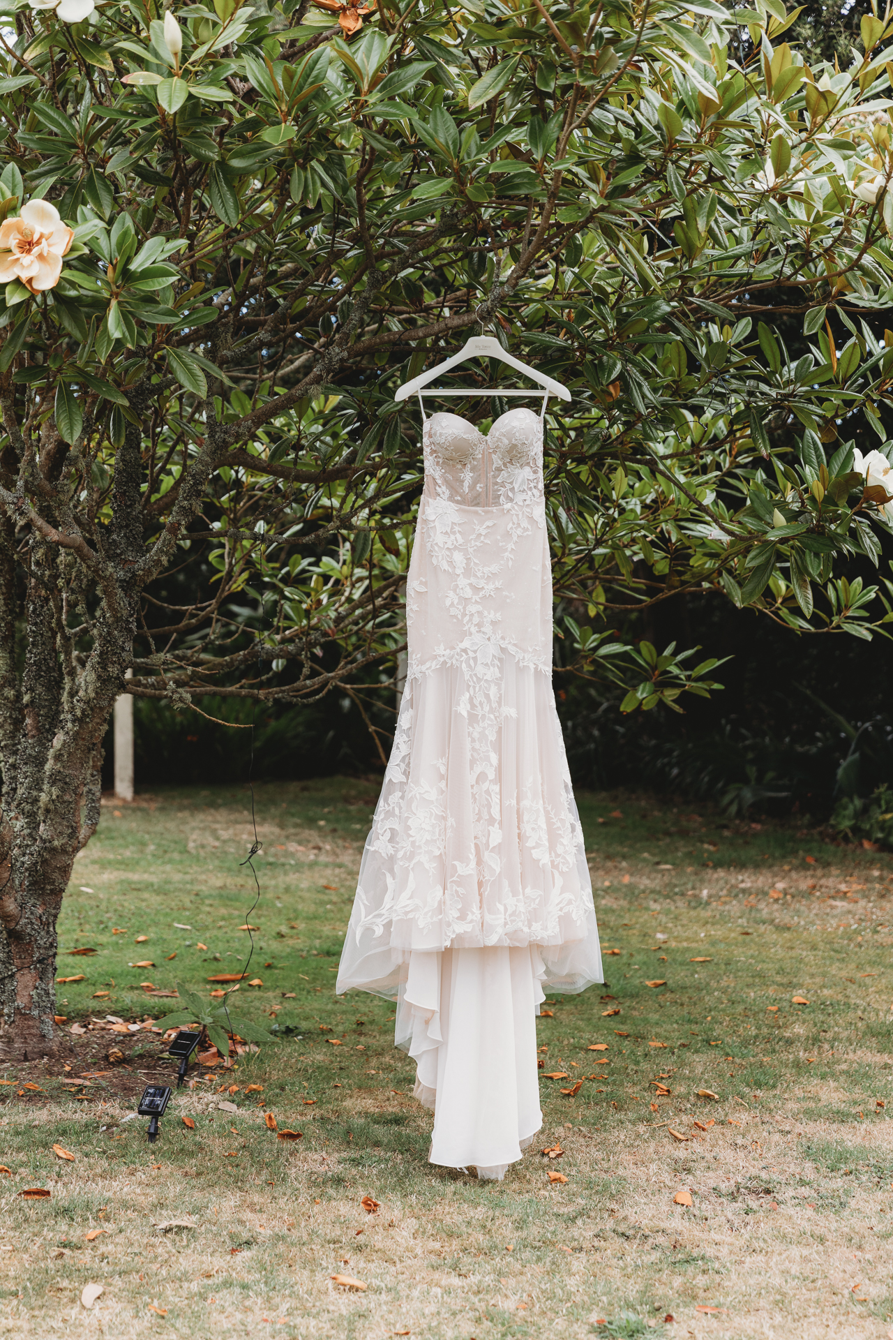 wedding dress hanging in the garden, Isles of Scilly
